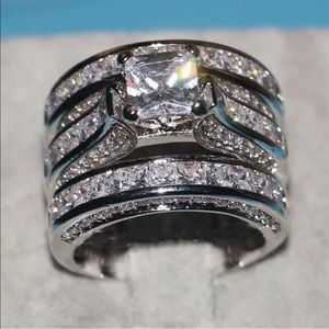New 18k gold plated halo diamond engagement ring